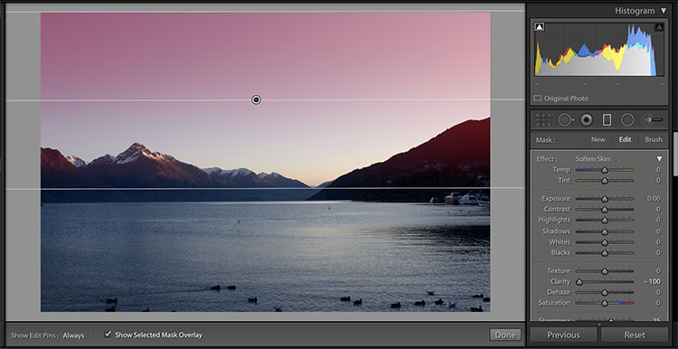 Graduated Filter Mask Overlay