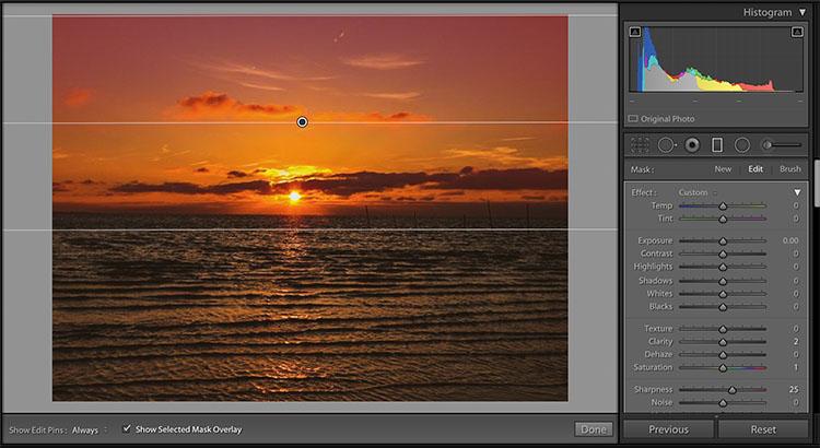 preset adjustment graduated filter