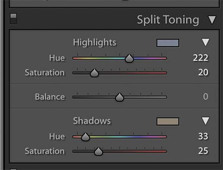 preset adjustment split toning