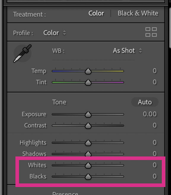 setting black and white point sliders